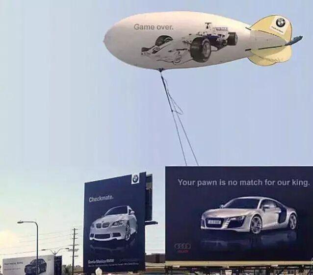 图11 奥迪和宝马的户外广告创意大战-看烦了阿里和京东口水战,看看